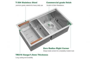 Sarlai 33 Inch Kitchen Sink Ledge Workstation Low Divide Double Bowl 5050 16 Gauge Stainless Steel Sink Basin