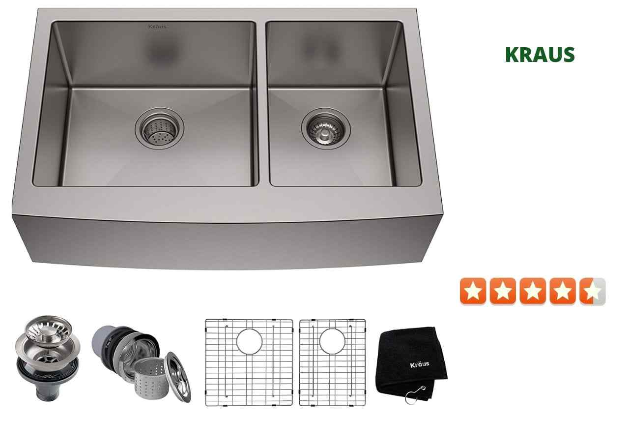 Kraus KHF203-33 Double Bowl kitchen Sink